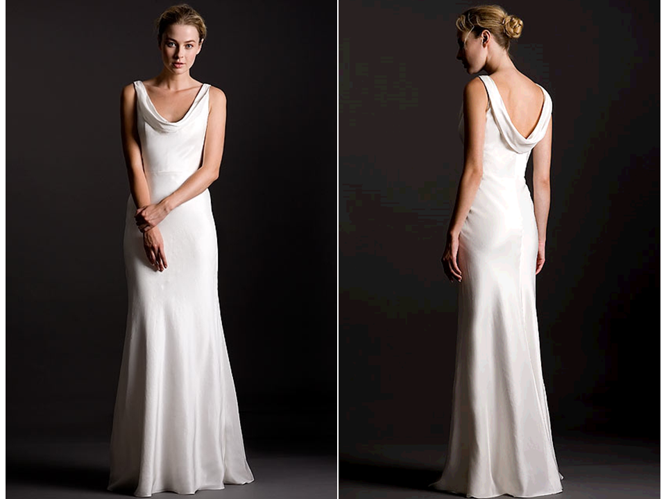 Sleek Silk Crepe Sheath Style White Wedding Dress With
