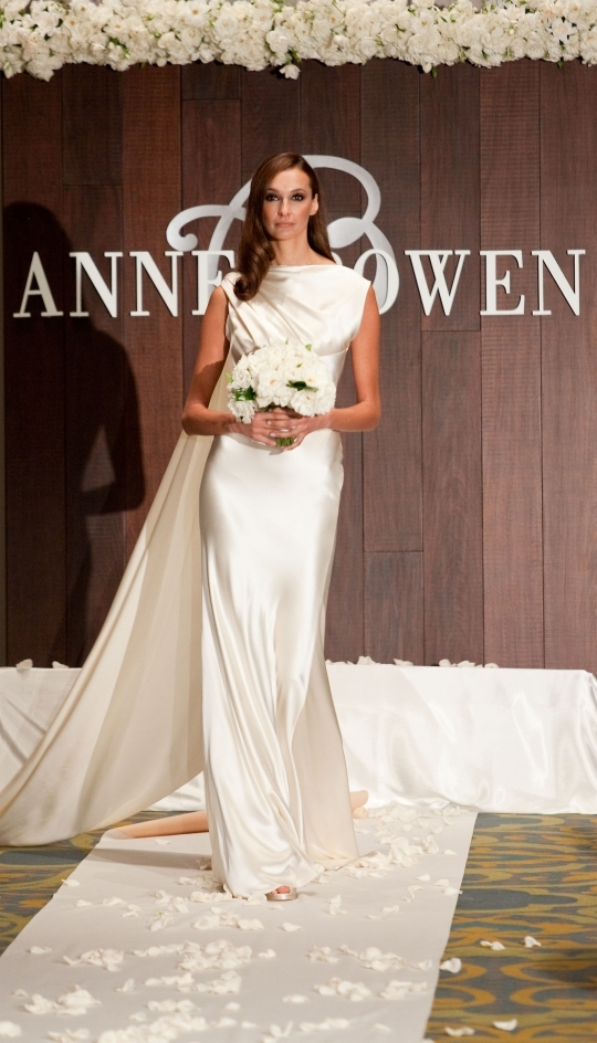 Chic ivory silk high-neck Anne Bowen wedding dress similar to Pippa Middleton's gown
