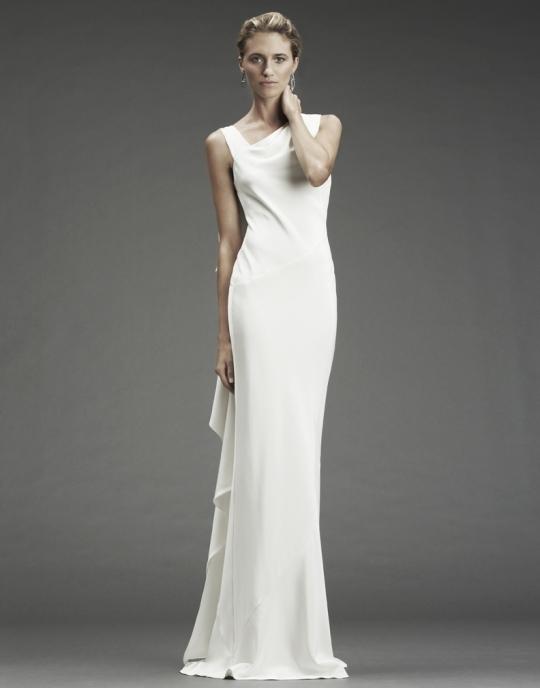 White Silk Crepe Modified Mermaid Nicole Miller Wedding Dress