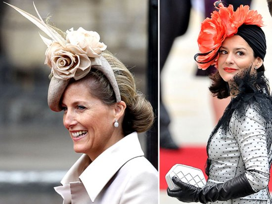 Haute couture feather fascinators seen at royal wedding