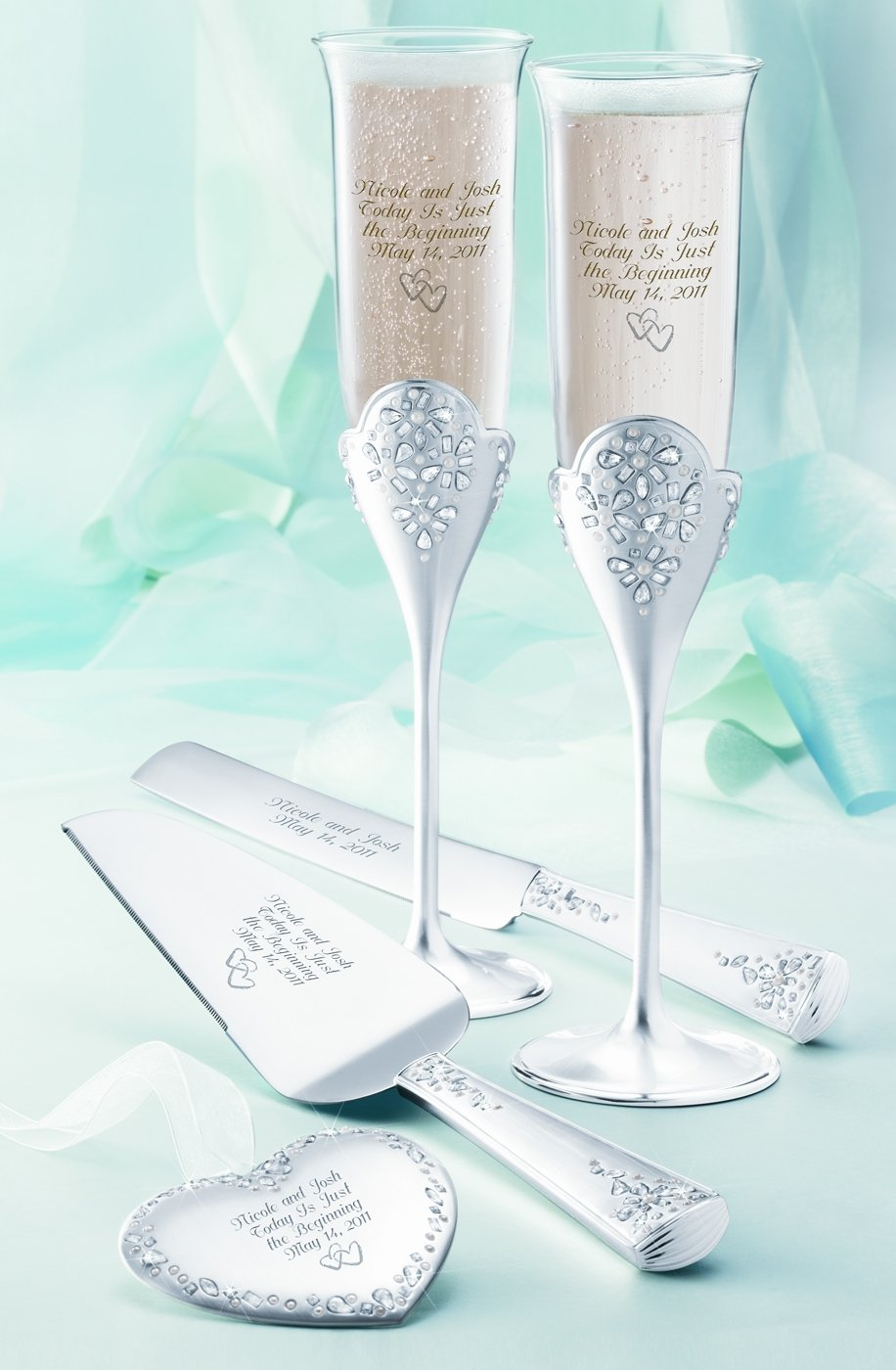 Clic Toasting Flutes And Wedding Cake Server Set From Things Remembered