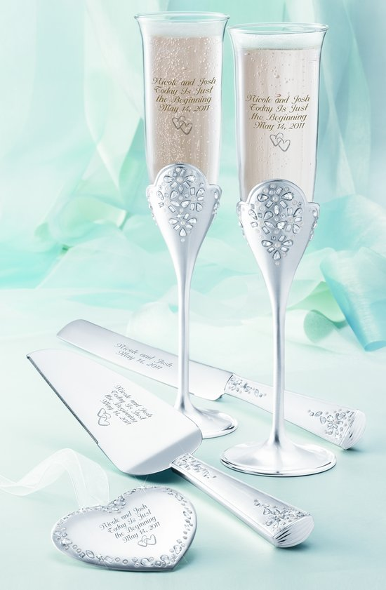 Classic toasting flutes and wedding cake server set from Things Remembered