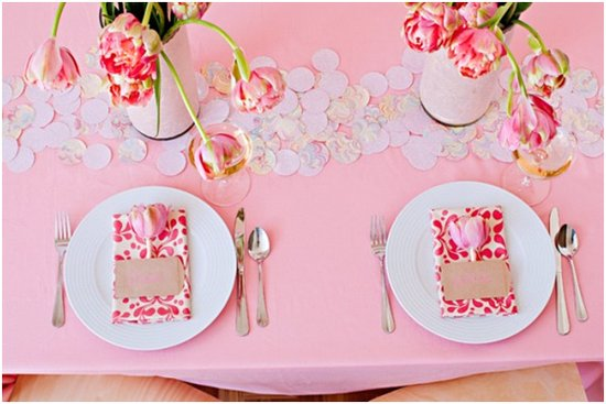 Romantic summer wedding reception tablescape with pink peony tulips