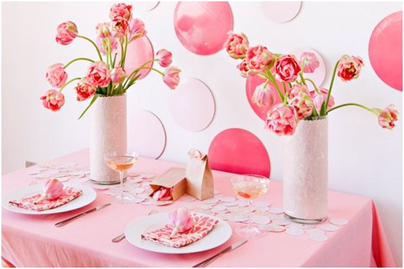 Bright and cheerful pink peony tulip wedding reception centerpieces