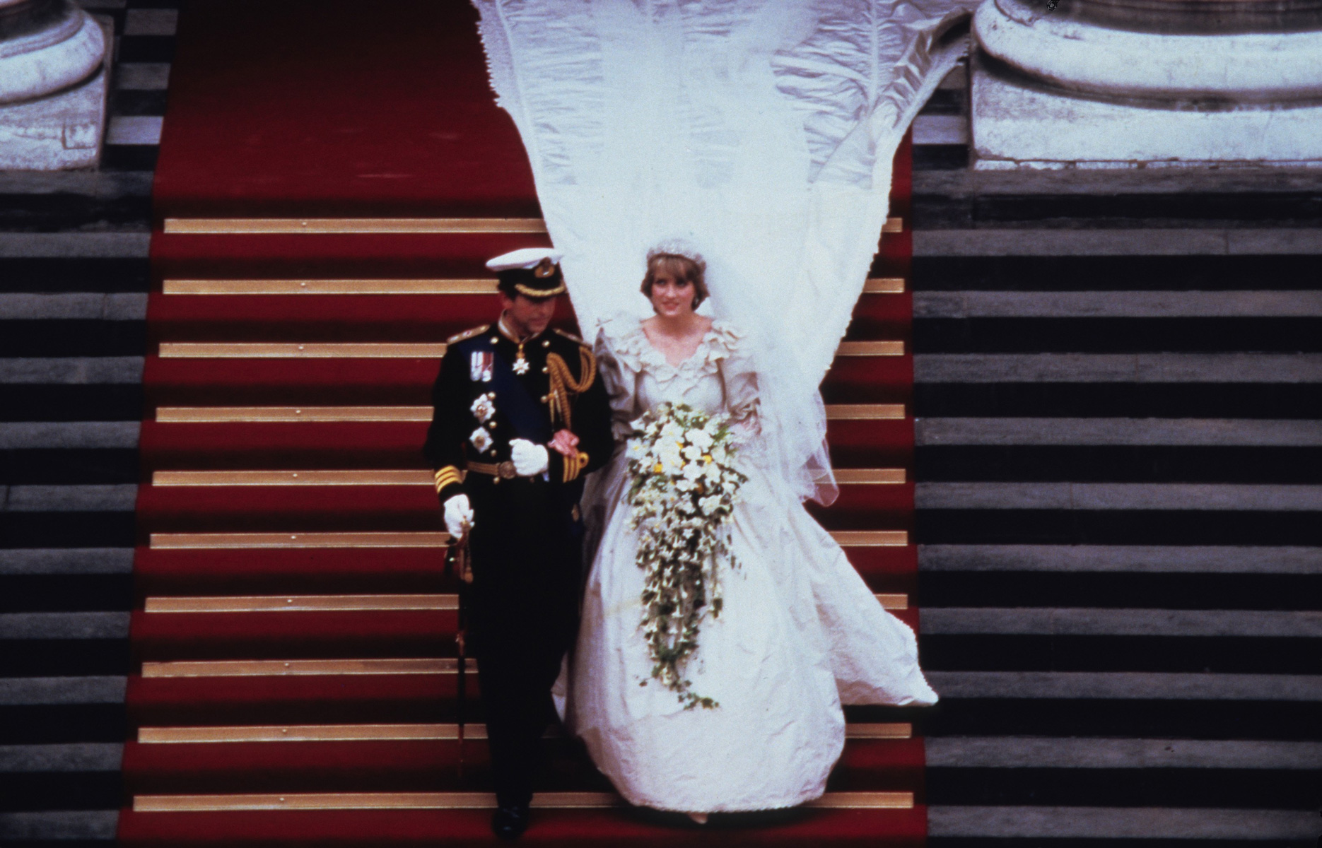 Princess Diana Walks Down Aisle In Bridal Gown By David