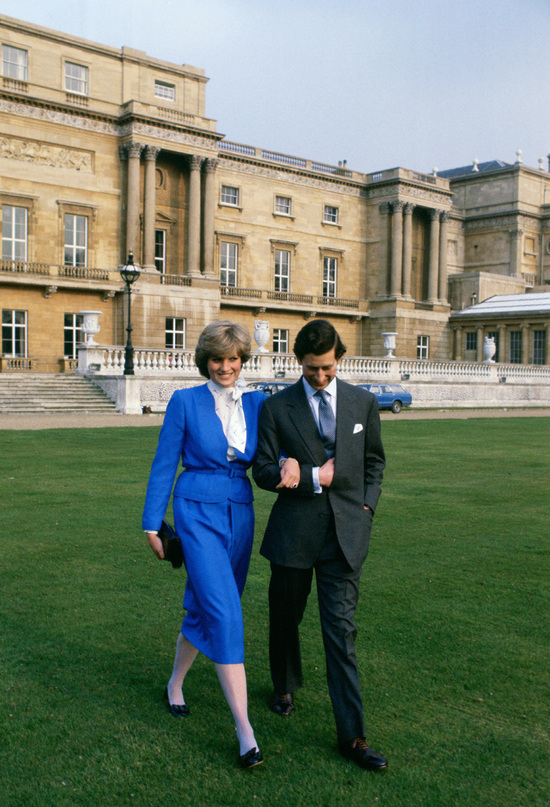 Princess Diana and Prince Charles after announcing royal engagement