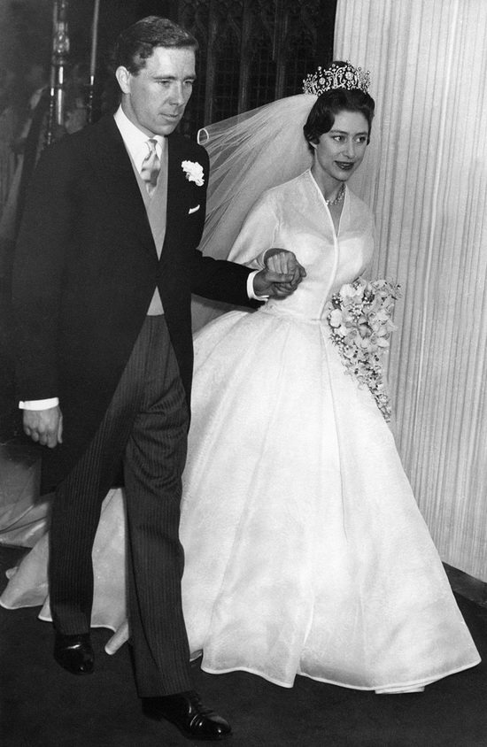 Princess Margaret in white ballgown modest wedding dress