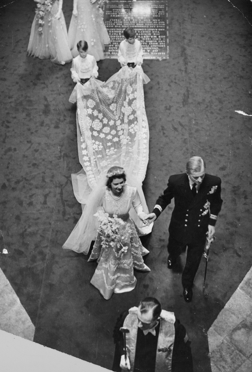 Princess Elizabeth's royal wedding dress with dramatic train