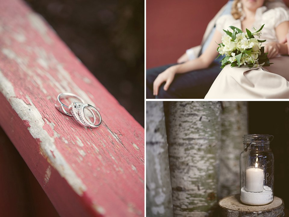 Simple wedding bands photographed on rustic wood, bride holds classic bridal bouquet