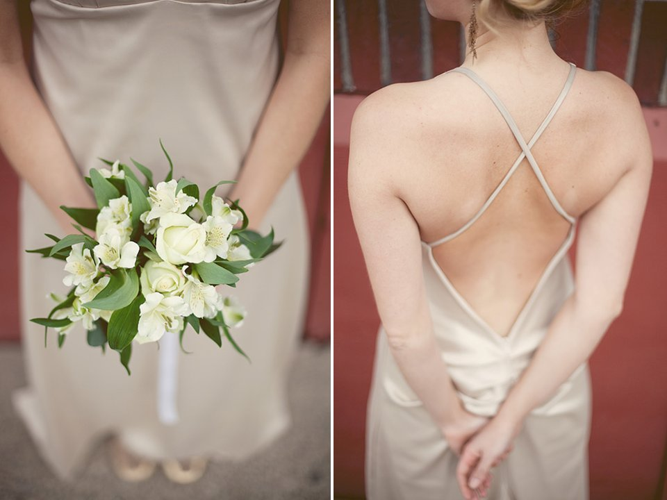 Classic ivory bridal bouquet and chic low-back champagne bridesmaid dresses