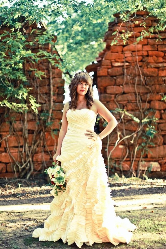 photo of Buttery yellow Spring wedding dress- Champagne Sweetheart by Bridal Bliss Designs