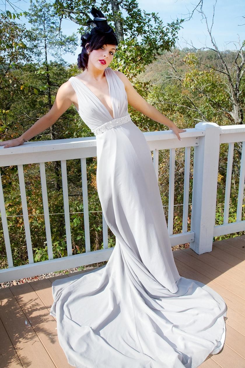 Chic vintage inspired halter sheath wedding dress with for Untraditional wedding dresses