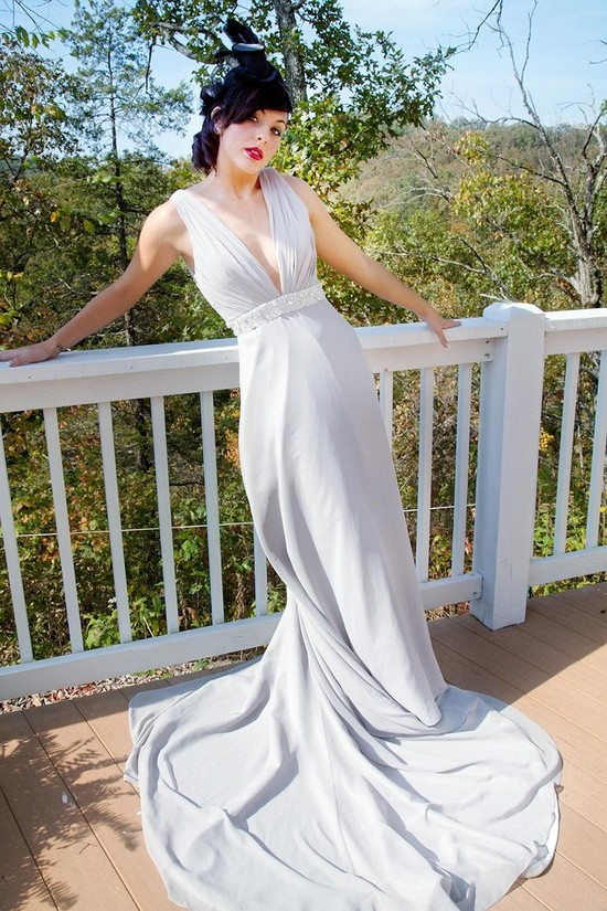 Chic vintage-inspired halter sheath wedding dress with beading below bust