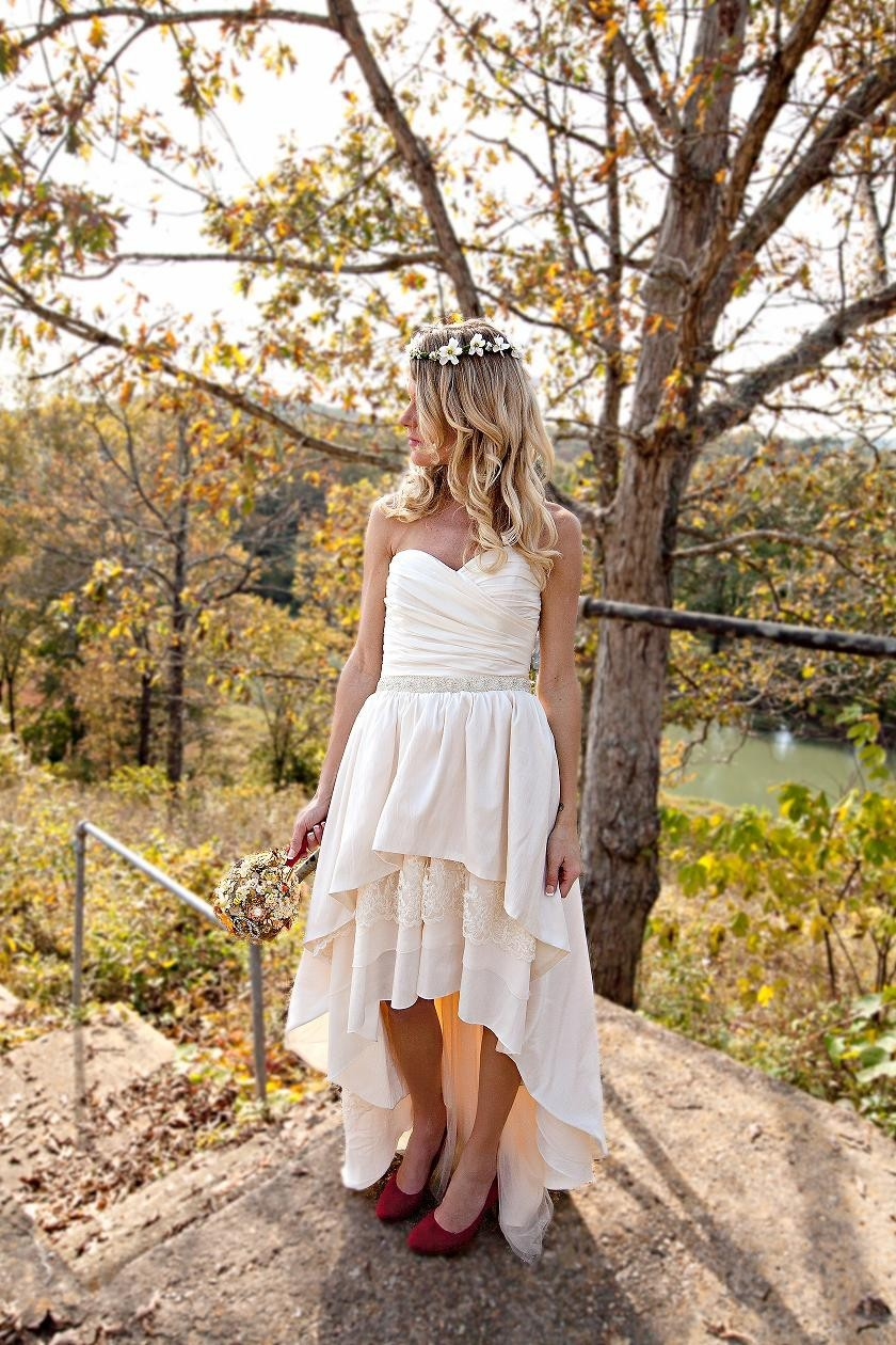 Handmade Ivory Strapless Wedding Dress For The Boho Bride