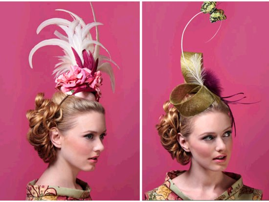 Haute couture wedding head chic- pillbox hats with sky high feathers