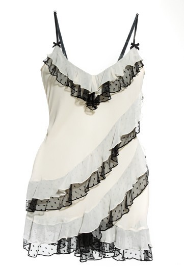 Sexy ivory and black chemise for your wedding night or honeymoon