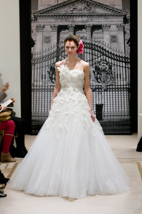Texture-rich dramatic ball gown wedding dress witha royal twist