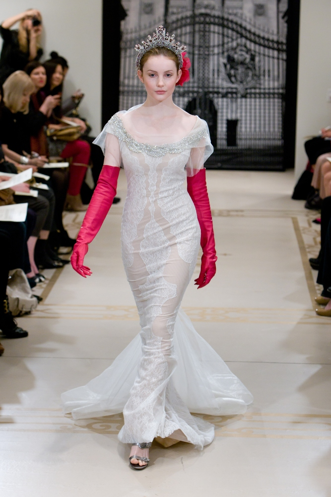 Chic modified a line high neck reem acra wedding dress for Wedding dresses with gloves
