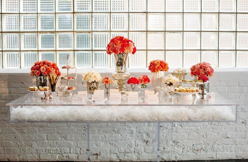 Anthropologie-wedding-bhldn-inspired-wedding-reception-decor-tablescape-reception-centerpieces-lace-wedding-trend-vibrant-table-centerpieces-mercury-glass-orange-flowers.full