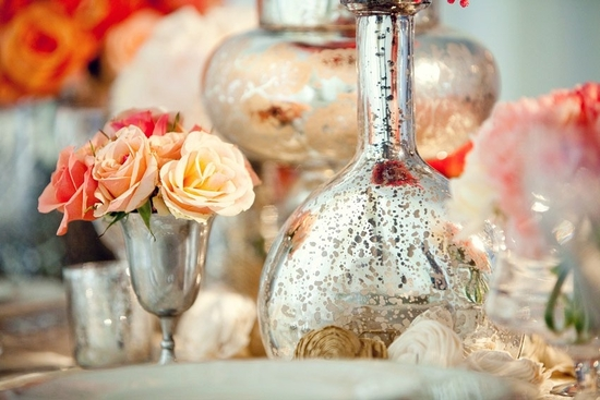 Anthropologie-inspired wedding reception decor with vintage chic mercury glass