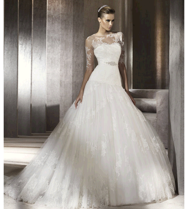 Stunning Lace Drop Waist Ballgown Pronovias Wedding Dress
