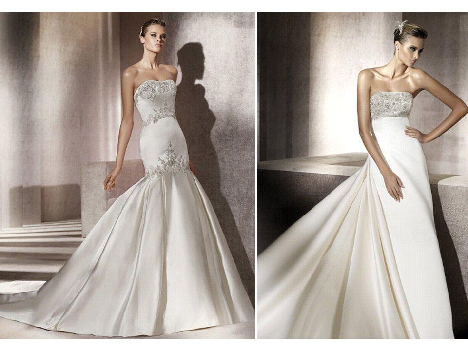 drop-waist ivory silk mermaid wedding dress with beaded bodice