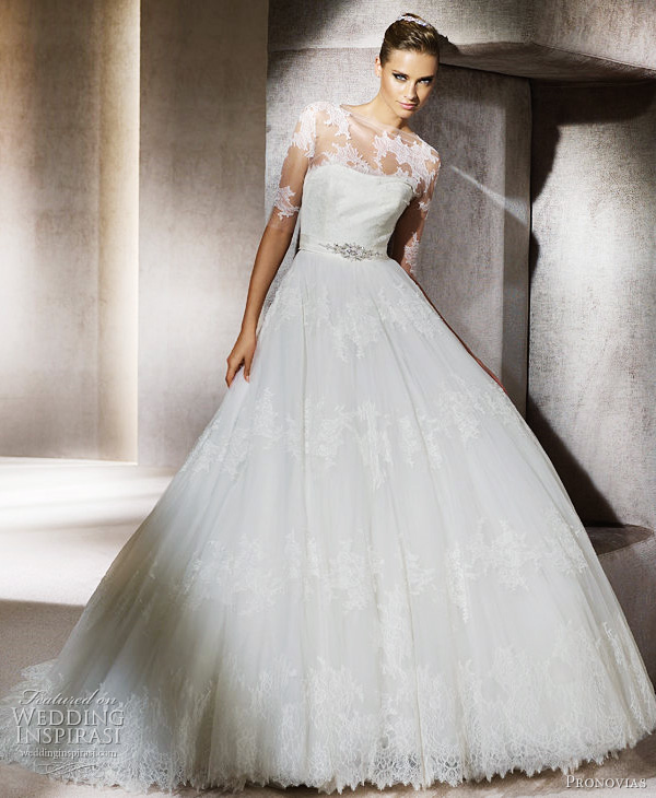 Romantic Lace Ballgown Wedding Dress With Sheer Sleeved