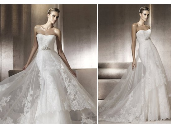 2012 wedding dresses pronovias bridal gown lace strapless mermaid
