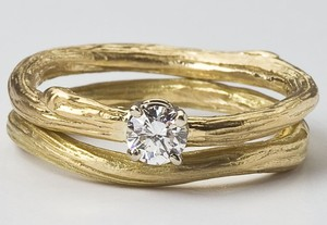 photo of Twig Solitaire Engagement Ring with matching band