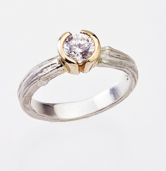 White and yellow gold eco-chic engagmement ring
