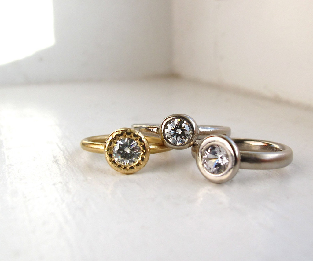 rings rose recycled gold rough handmade diamond ring of unique engagement