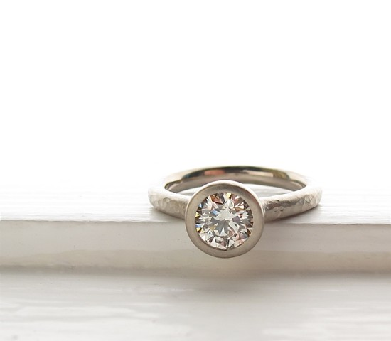 photo of Diamond Pebble Solitaire Engagement Ring