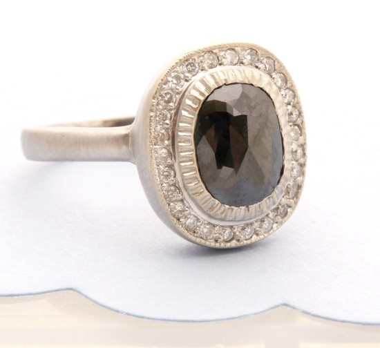 photo of Rose Cut Black Diamond and White Gold Engagement Ring by Tula Organic Design