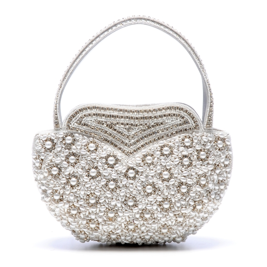 Romantic beaded bridal clutch with silver and pearl beading