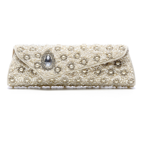 Ivory textured bridal clutch with bejeweled details