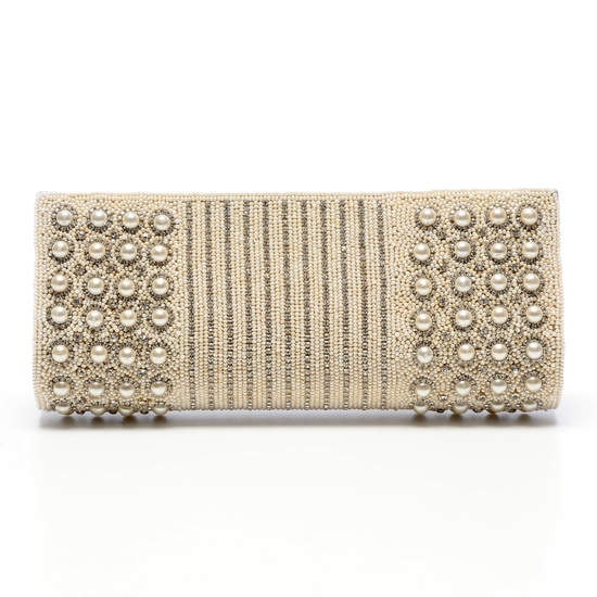Opulent ivory  bridal clutch embellished to the hilt