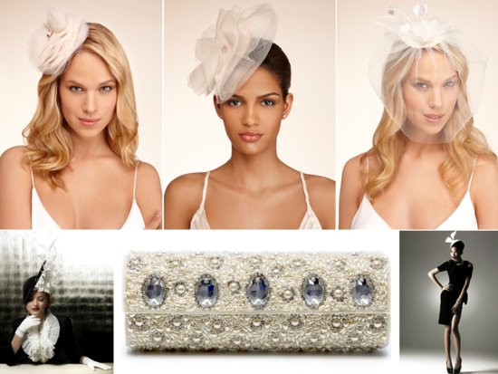 Chic wedding hats and bridal clutches for a royal wedding-inspired affair