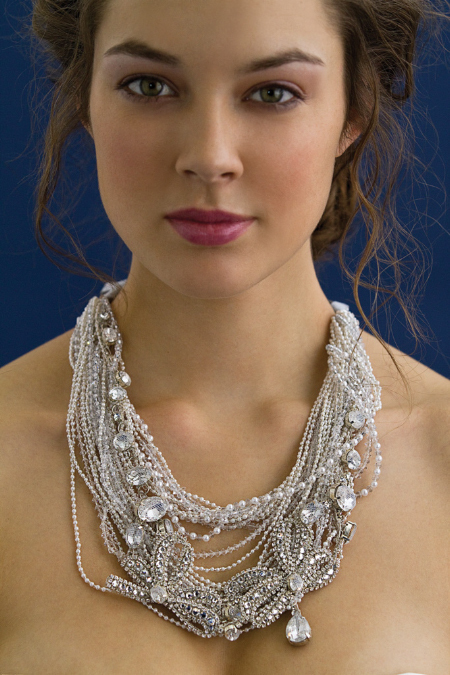 Chic multi-strand bridal necklace with large hanging crystals