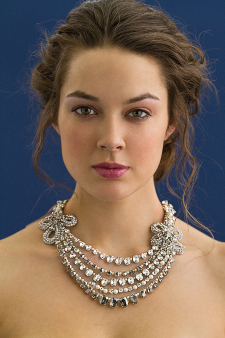 Feminine multi-strand statement bridal necklace by Rivini's designer