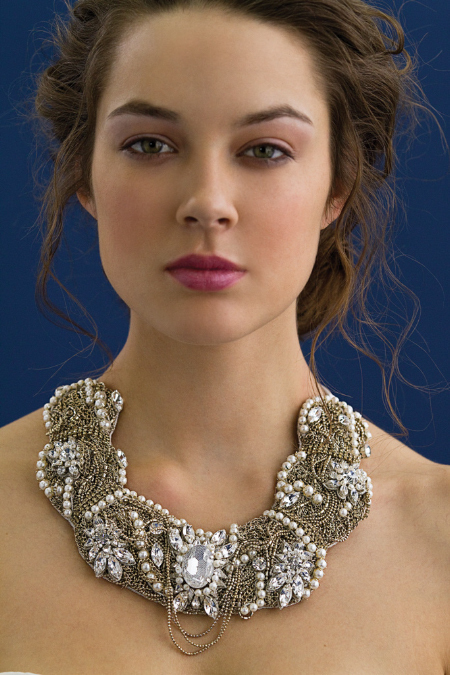 Multi-strand statement bridal necklace by Rivini's creative director