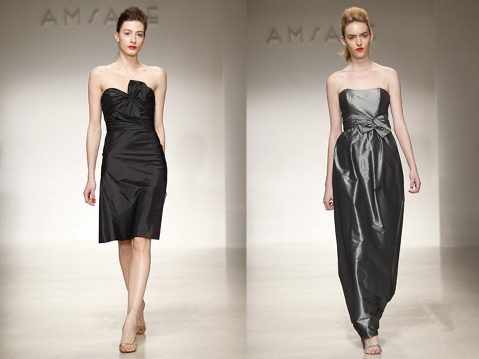 Bridesmaids' dresses by Amsale- black cocktail dress and strapless metallic silver gown