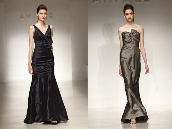 Full-length silk taffeta Amsale bridesmaids dresses for fall and winter weddings