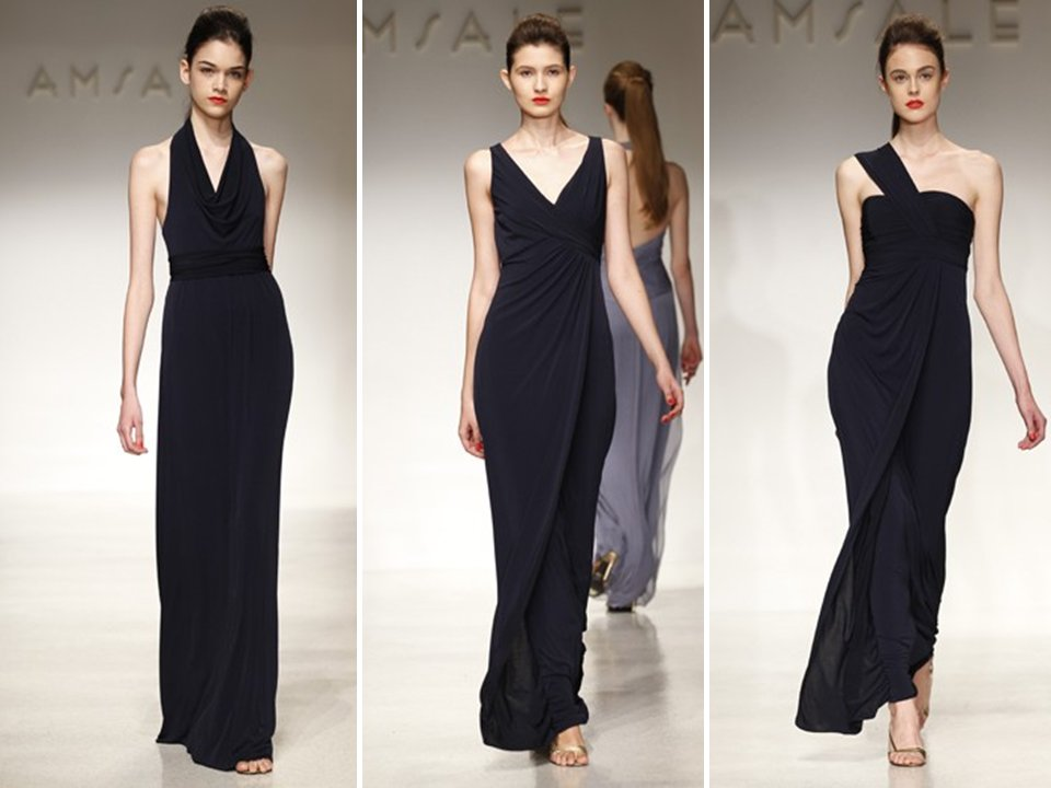 Chic black bridesmaids dresses by Amsale- mix and match!