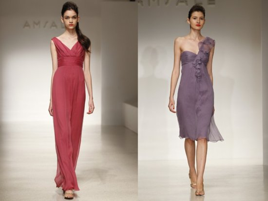 Spring and summer red and purple chiffon bridesmaids' dresses by Amsale