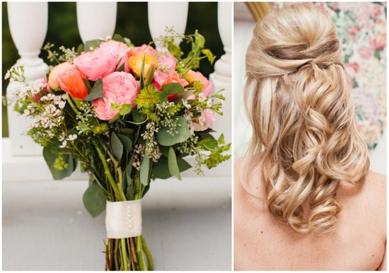 Bridal hairstyle and bouquet