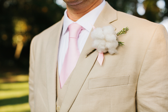 Cotton groom boutonniere