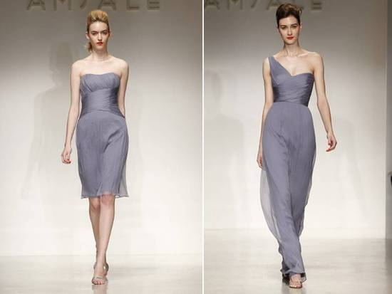 Muted periwinkle bridesmaids dresses with Grecian-inspired style