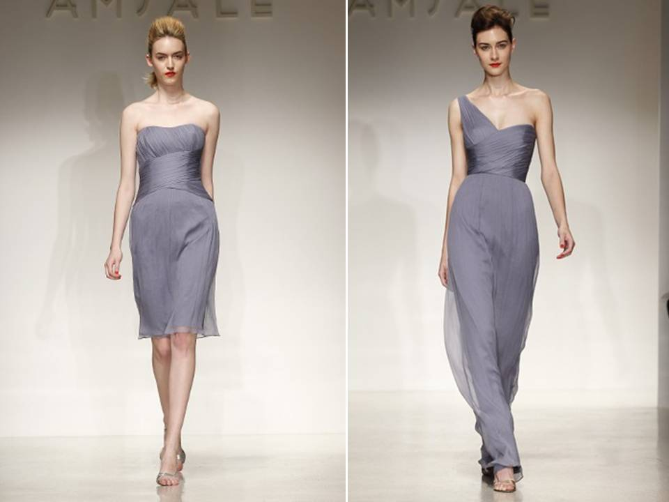Muted periwinkle bridesmaids dresses with grecian inspired for Purple and grey wedding dresses