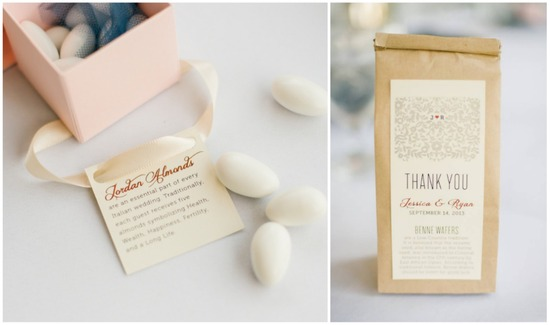 Jordan Almonds and Benne Wafers Wedding Favors