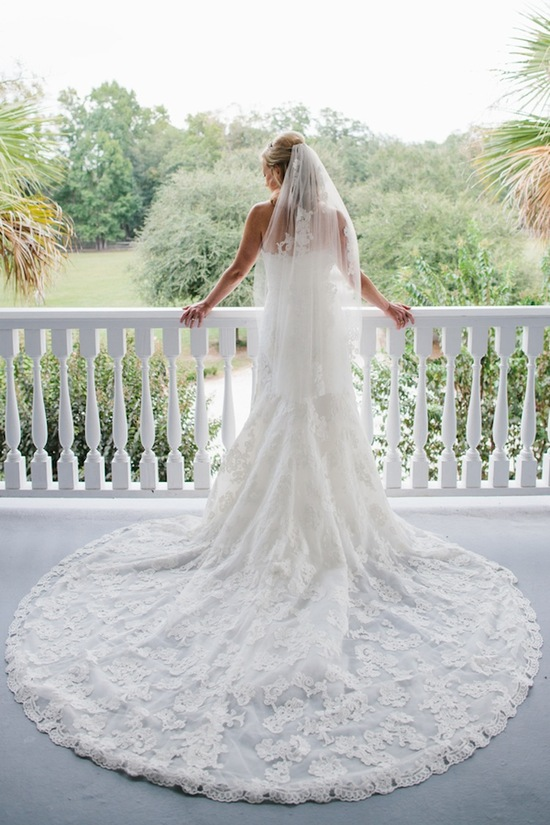 Real bride with gorgeous lace train